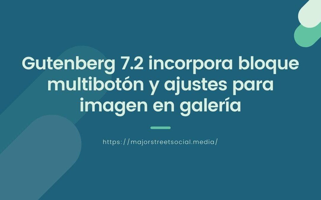 Gutenberg 7.2 incorpora bloque multibotón y ajustes para imagen en galería