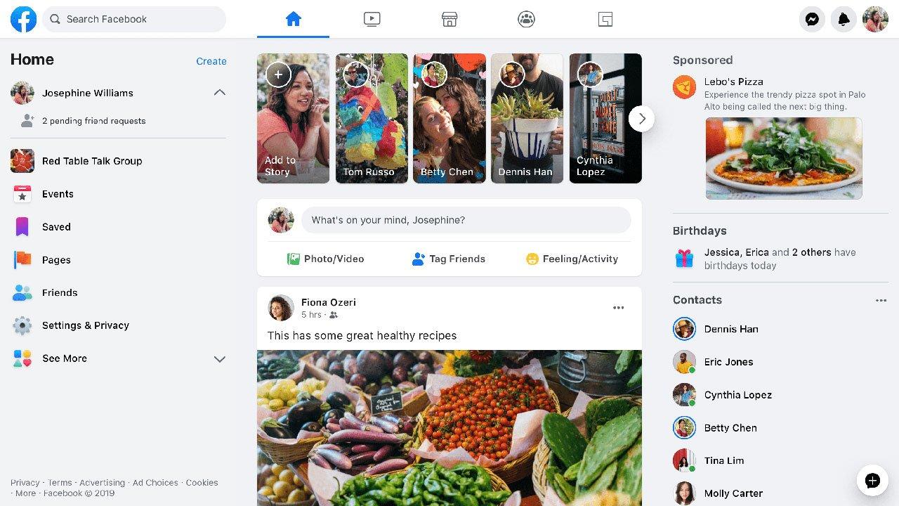 Nueva interfaz de Facebook 2020